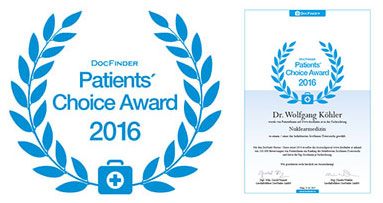 DocFinder Patients Choice Award 2016 Schilddrüsenordination Dr. Wolfgang Köhler